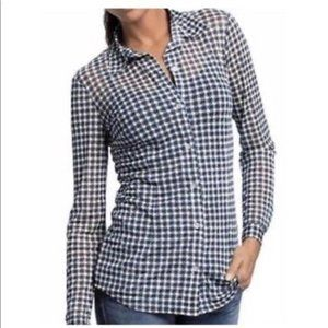 CAbi Sheer Checkered Navy & White Button Up Shirt